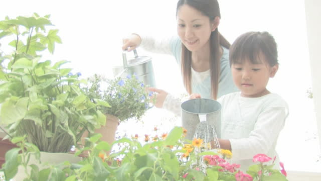girl and mother watering plants - watering can stock videos & royalty-free footage