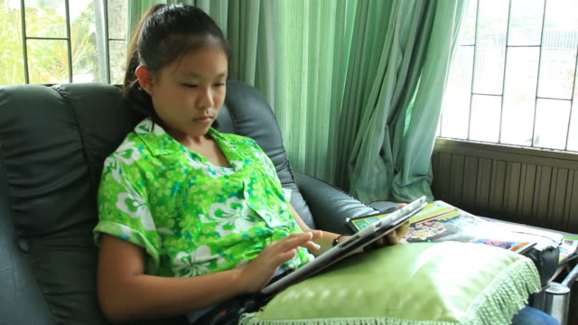 girl and tablet. - one teenage girl only stock videos & royalty-free footage