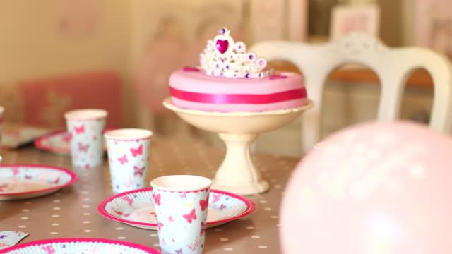 Girl birthday cake and ballons