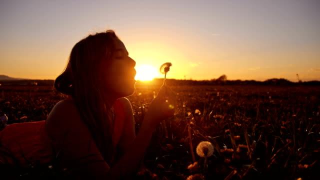 vídeos de stock, filmes e b-roll de slo mo menina soprando dentes de leão ao pôr do sol - soprando