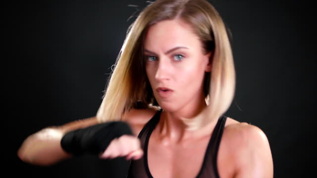 girl boxer punching in super slow motion 120fps - punching stock videos and b-roll footage