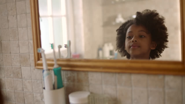girl brushing teeth - african ethnicity stock videos & royalty-free footage