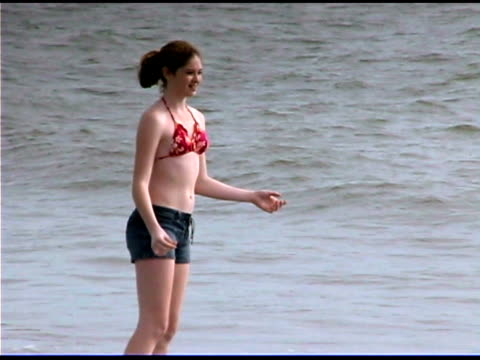 girl catching flying disk - see other clips from this shoot 1335 stock videos and b-roll footage
