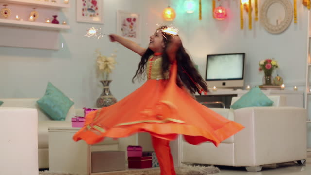 girl celebrating diwali festival - one girl only stock videos & royalty-free footage