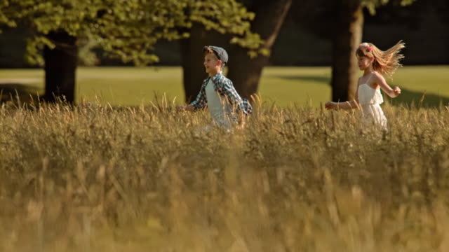 slo mo ts girl chasing a boy across a meadow - dress stock videos & royalty-free footage