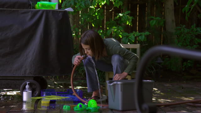 ws, pan, girl (10-11) cleaning hamster cage in patio with garden hose, hollywood, california, usa - hose stock videos and b-roll footage