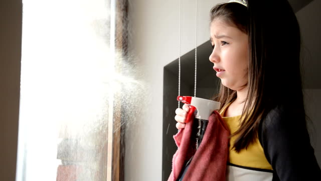 girl cleaning window - cleaning product stock videos and b-roll footage