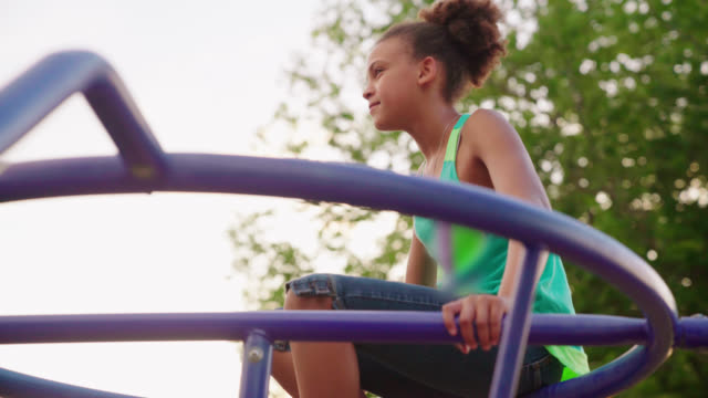 girl climbs jungle gym - playground stock videos & royalty-free footage