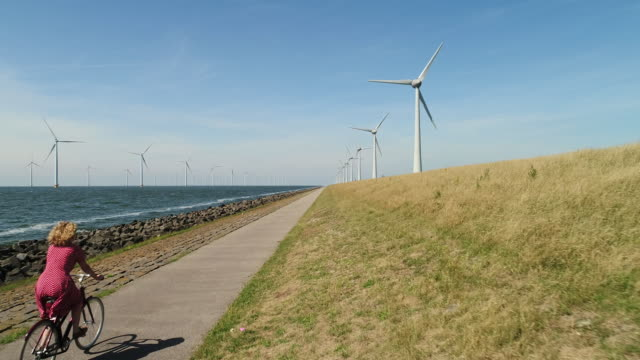 stockvideo's en b-roll-footage met girl cycling along wind turbines - nederland