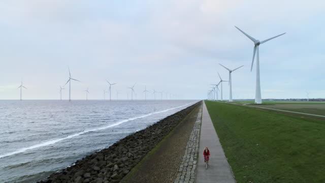 girl cycling - niederlande stock-videos und b-roll-filmmaterial