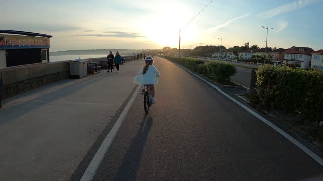 girl cycling - channel islands england stock videos & royalty-free footage
