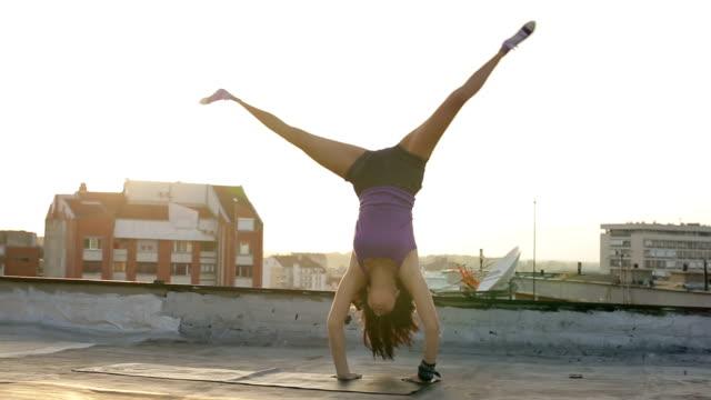 girl doing cartwheel - cartwheel stock videos & royalty-free footage