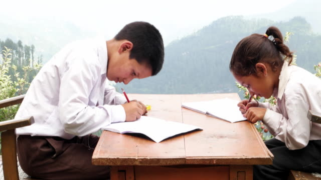 girl doing home work is joined by her elder brother - pencil sharpener stock videos & royalty-free footage