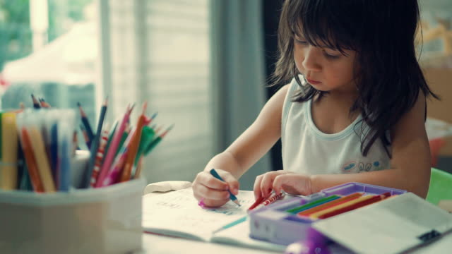 girl (6-7 years) doing homework - 6 7 years stock videos & royalty-free footage