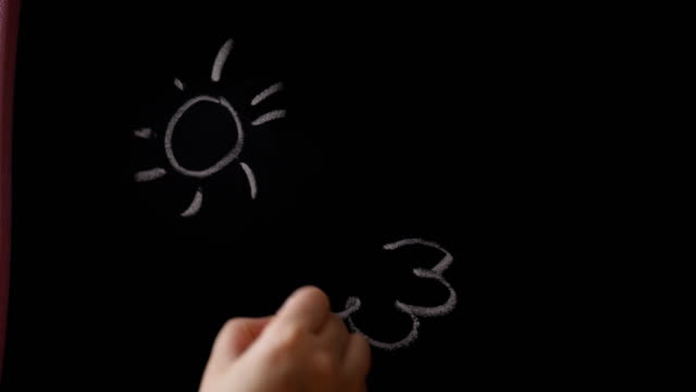 girl drawing on black board - writing instrument stock videos & royalty-free footage