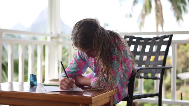 girl drawing on low table - wet hair stock videos and b-roll footage