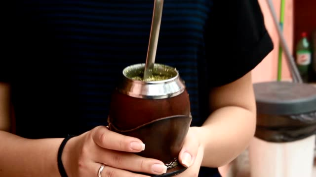girl drinking mate tea. - yerba mate stock videos & royalty-free footage