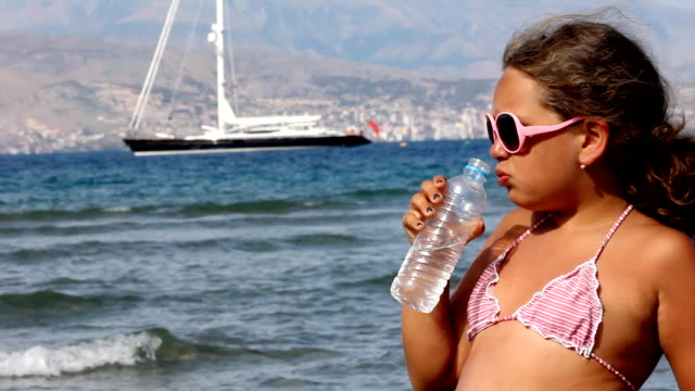 girl drinking water (hd) - one girl only stock videos & royalty-free footage
