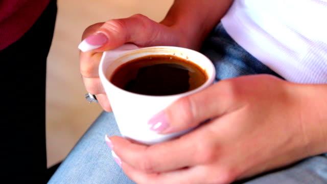 Girl drinks Morning coffee