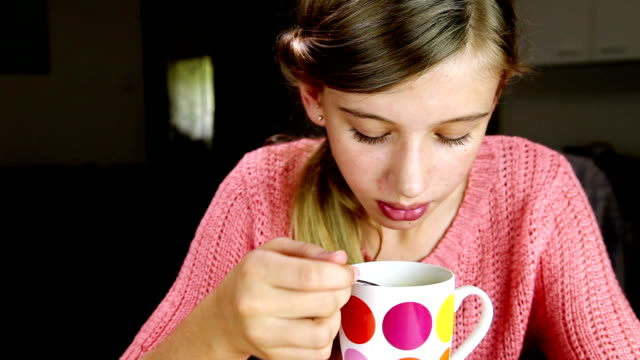 girl eating soup - mug stock videos and b-roll footage