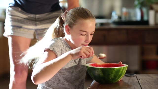 girl eating watermelon at home - coda di cavallo video stock e b–roll