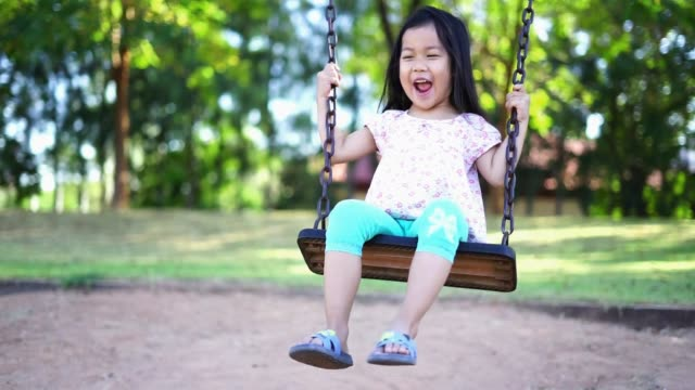 Girl enjoy on swing