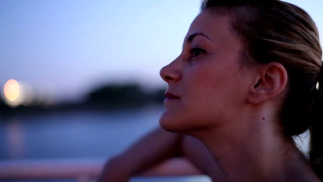 girl enjoying a boat ride at night - ferry stock videos & royalty-free footage