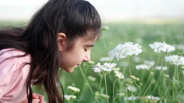 咲く香りを楽しむ少女。 - アロマ点の映像素材/bロール
