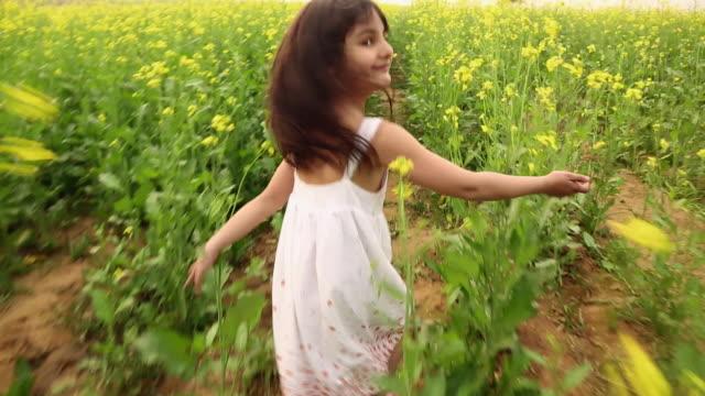 vídeos y material grabado en eventos de stock de girl enjoying in the mustard field, haryana, india - indian ethnicity