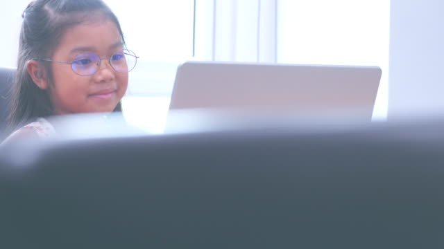 girl enjoying personal computer - elementary student stock videos & royalty-free footage