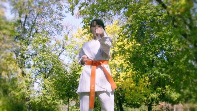 vídeos de stock, filmes e b-roll de karate garota de exercícios no park - karate