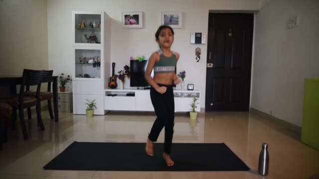 girl exercising at home - 6 7 years stock videos & royalty-free footage