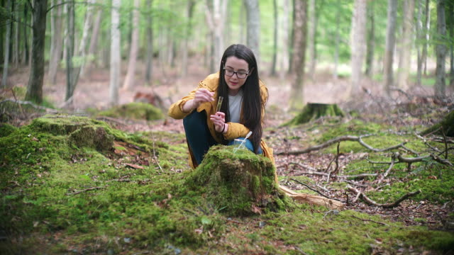 Girl Explorer Collecting Moss Sample for STEM research
