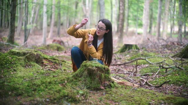 Girl Explorer Studying a Moss Sample in a Test Tube for STEM research