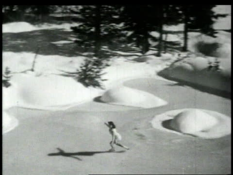 1948 montage girl figure skating outdoors / united states - endast en tonårsflicka bildbanksvideor och videomaterial från bakom kulisserna