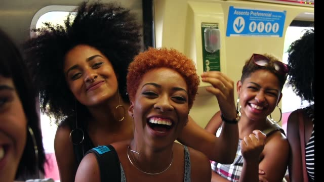 girl friends taking a selfie at subway station - afro stock videos & royalty-free footage