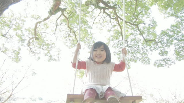 Girl getting on swing