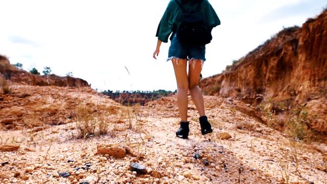 女の子は太陽の森に行く - 人の背中点の映像素材/bロール