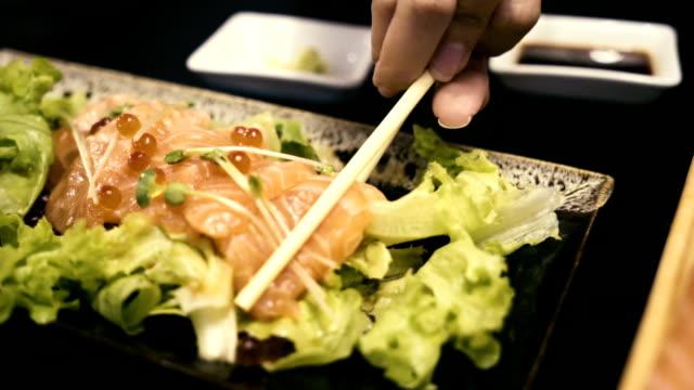 girl hand eating salmon salad - salmon salad stock videos & royalty-free footage