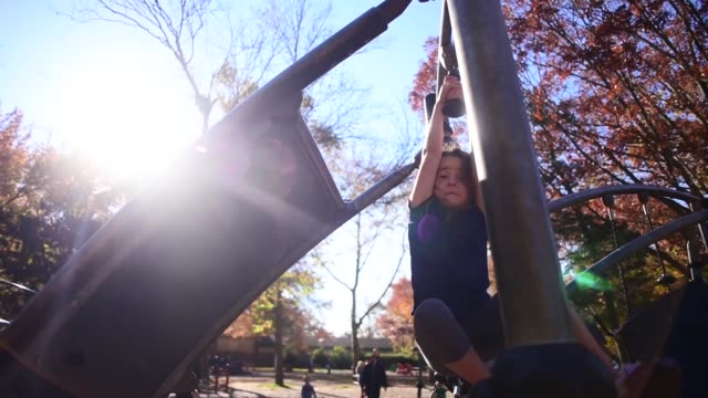vídeos de stock, filmes e b-roll de a girl hanging from the jungle gym at the park. - jungle gym