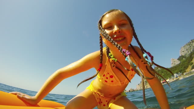 girl having fun at sea - children only stock videos and b-roll footage