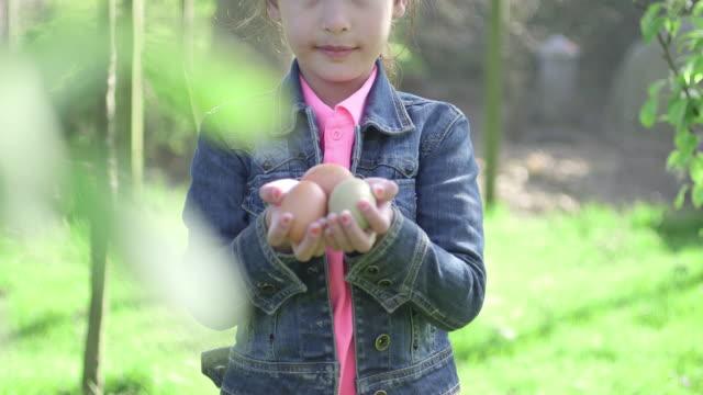 vídeos de stock, filmes e b-roll de girl holding eggs - jaqueta jeans