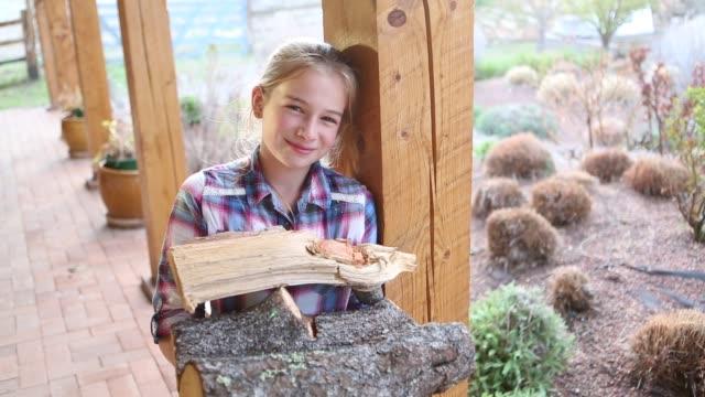 girl holding firewood - 10 11 år bildbanksvideor och videomaterial från bakom kulisserna