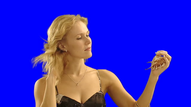 girl holding shell - blonde hair stock videos & royalty-free footage