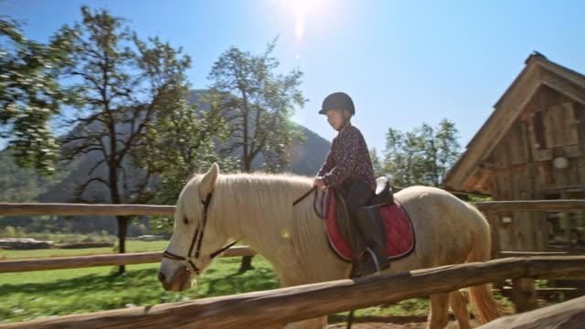 vídeos de stock e filmes b-roll de girl horseback riding in a round pen at a ranch in sunshine - cavalgar