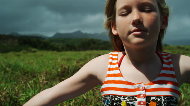 girl in a field - pre adolescent child stock videos & royalty-free footage