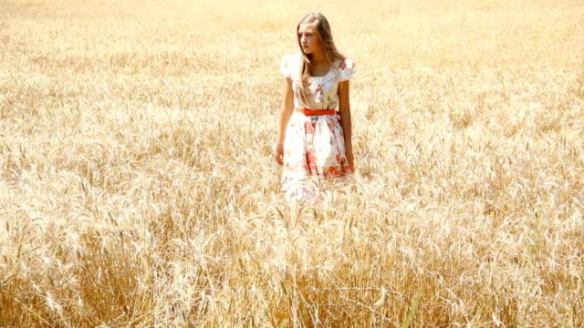 vídeos y material grabado en eventos de stock de chica en el campo de trigo - sólo una adolescente