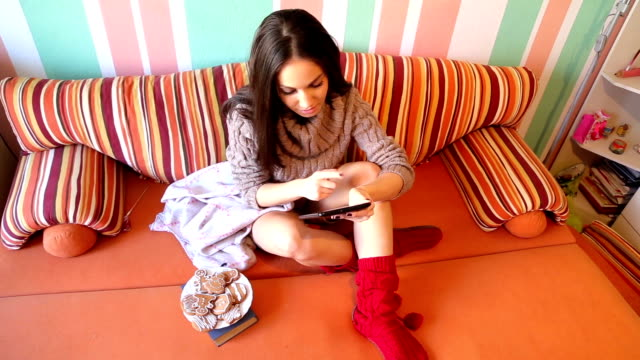 girl in bed surfing the net - leg warmers stock videos & royalty-free footage