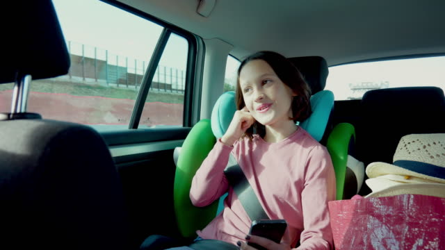 girl in car - back seat stock videos & royalty-free footage