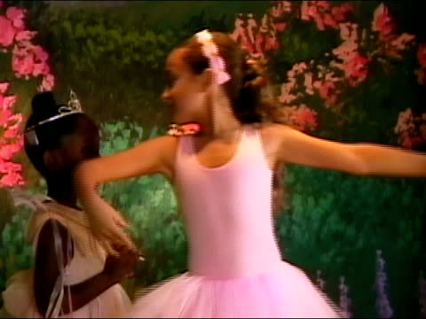 girl in fairy costume and girl in pink tutu performing on stage during ballet recital / exiting stage / los angeles, california - tutu stock videos and b-roll footage